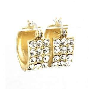 Matte Gold Plated Fashion Huggie Earrings for Women with Small Clear