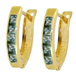 14k Gold Hoop Huggie Earrings with Genuine Green Sapphires Jewelry