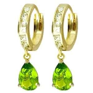 Gold Hoop Huggie Earrings with Genuine White Topaz & Peridot Jewelry