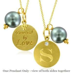 Natural Diamond Initial S, LOVE LETTERS Pendant Pearl Charm in 18k