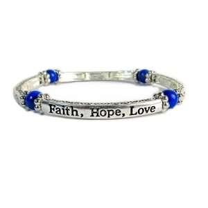 Inspirational Faith, Hope, Love Stretch Bracelet with Lapis Lazuli