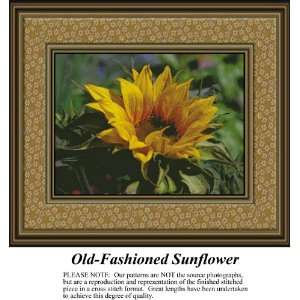 Old Fashioned Sunflower, Counted Cross Stitch Patterns PDF