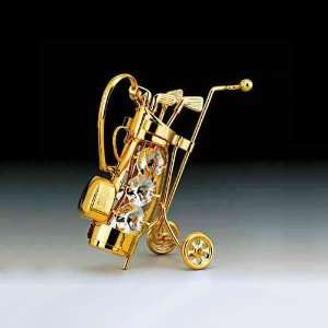 Golf Club Set 24K Gold Plate Swarovski Crystal Ornament