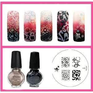 Konad Stamping Nail Art 2 Special Polishes Black, Light Bronze + Image