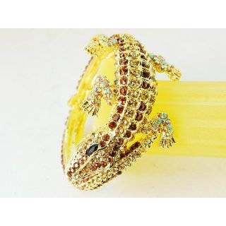 Topaz Crystal Rhinestone Crocodile Alligator Bracelet Bangle Cuff