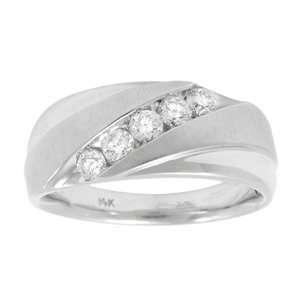 Mens 1/2 Carat Diamond 14k White Gold Wedding Ring Jewelry