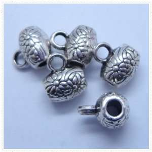 Tibetan silver Flower Carved Drum Charm Loose Beads