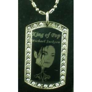 Michael Jackson KING OF POP CZ Silver Dog tag Necklace