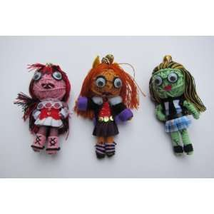3 Monster High Students Set String Doll Keychain New
