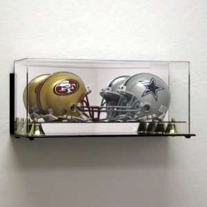 Wall Mount Acrylic Double Mini Helmet Display Case Sports