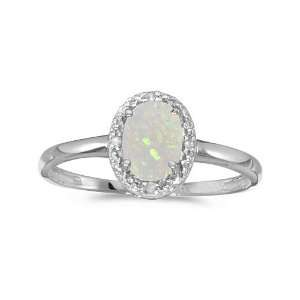 10k White Gold Oval Opal And Diamond Ring (Size 11) Jewelry