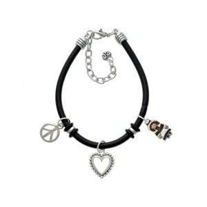 Pilgrim Girl Black Peace Love Charm Bracelet Arts, Crafts