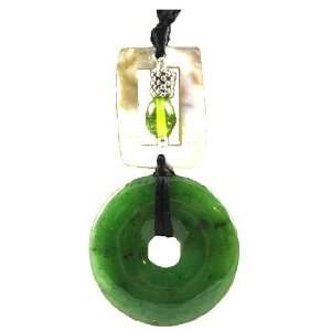 Large Jade Circle, Abalone Shell Charm Pendant Necklace LONG 40 Cord