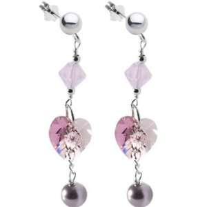 Pink Pearl Heart Drop Earrings MADE WITH SWAROVSKI ELEMENTS Jewelry