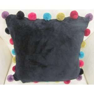 SUPERSOFT BLACK TEAL PURPLE PINK RED GREEN FLEECE POM POM 18 CUSHION