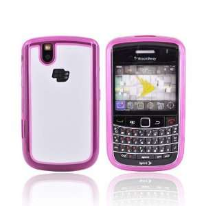 WHITE HOT PINK Hard Plastic Case Cover w Gel Gummy Border