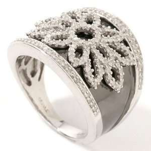 Sterling Silver/Platinum Black Rhodium & Diamond Flower Ring Jewelry