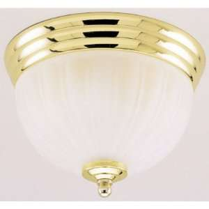 2 Light Flush Mount Ceiling Fixture Polished Brass Finish