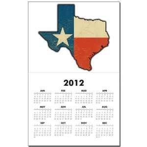 Calendar Print w Current Year Texas Flag Texas Shaped