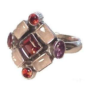 Silver Rose Quartz, Garnet & Amethyst Ring   9.0 CaratGems Jewelry
