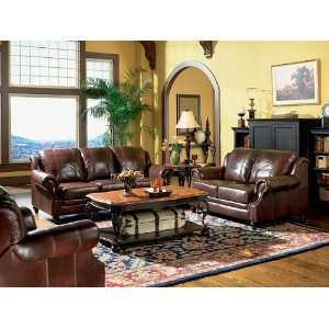 Princeton Tri Tone Burgundy Leather Sofa Loveseat & Recliner Chair Set