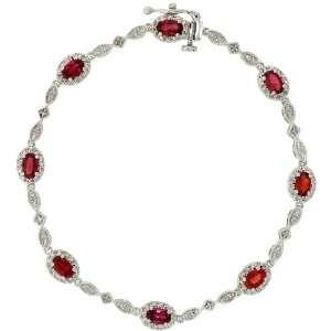 Gold 6 3/4 Stone Bracelet, w/ 2.60 Total Carat Oval Cut (5x3mm) Red