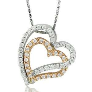 14k White and Rose Gold Heart Diamond Pendant Necklace (HI
