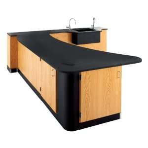 Science Workstation with Epoxy Resin Top and Wall Side Sink Office
