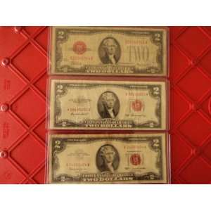 Set of 3 Red Seal $2 Bills (1928, 1953, 1963) By Nicky
