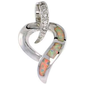 Sterling Silver Open Heart Slide / Pendant, Inlaid w/ Lab Opal with CZ