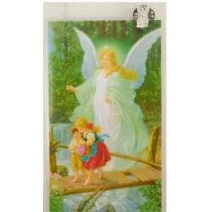 Silver Guardian Angel Lapel Pin and Prayer Card Set (McVan PC801GA