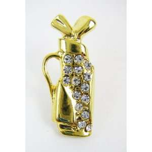 Gold Plated Golf Club Set Pin with Cubic Zirconia Rhinestones