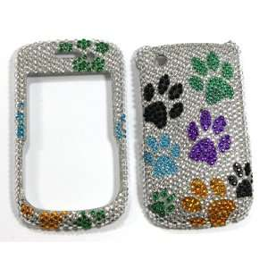 Silver with Rainbow Dog Paw Prints Blackberry 8520 / 8530