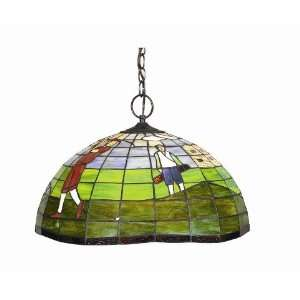 Golf Theme Stained Glass Pendant Ceiling Light  Kitchen