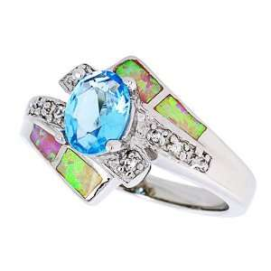 Ring, w/ Oval Shape Blue Topaz CZ & Brilliant Cut CZ stone Accents For