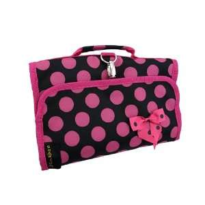 and Hot Pink Polka Dot Cosmetic Rollout Case Toiletry Bag Beauty