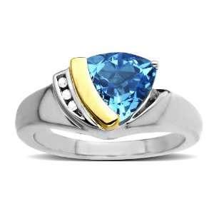 Diamond and Trillion Cut Swiss Blue Topaz Ring (0.1 cttw, I J Color