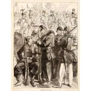 1874 Wood Engraving Prussian Uniforms Battle War Army Franco Prussian