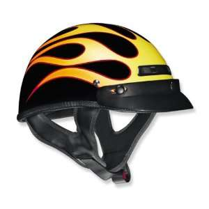 VEGA XTS CUSTOM FLAME DESIGN MOTORCYCLE HALF HELMET (XSMALL, YELLOW