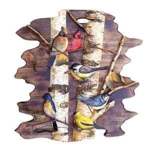 Birds Sitting in Birch Tree Wood Art