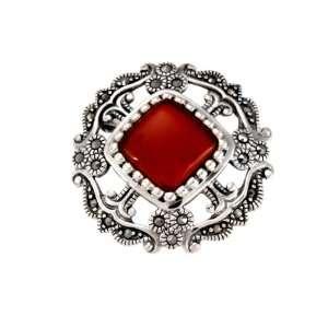 Sterling Silver Marcasite Open Work Carnelian Pin Jewelry