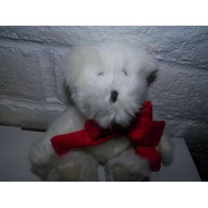 white teddy bear, hallmark, red bow tie and heart
