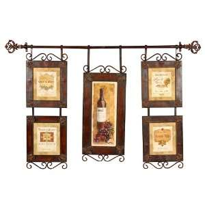 Wine Collage Oil Reproduction with Brown Frame Brown with Black