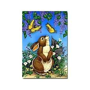Bunny & Lilacs Large Flag Flower Butterflies Green Patio