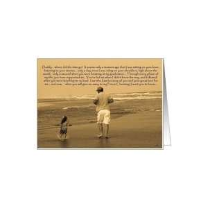 Bride to Father: father and daughter on beach Card: Health