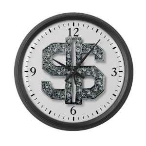 Large Wall Clock Bling Dollar Sign