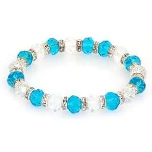 Royal Diamond Sky Blue and Clear Glass Bead Stretch Bracelet (15