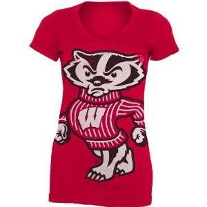 NCAA Wisconsin Badgers Gigantor Ladies V Neck Tee Shirt
