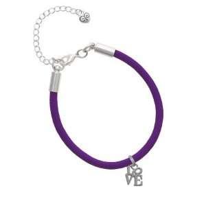 Mini Silver Love in Square Charm on a Purple Malibu Charm