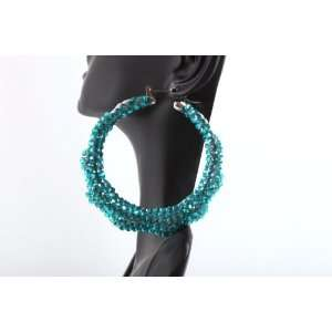 Bamboo Hoop Earrings Iced Out Basketball Mob Wives Lady Gaga Poparazzi